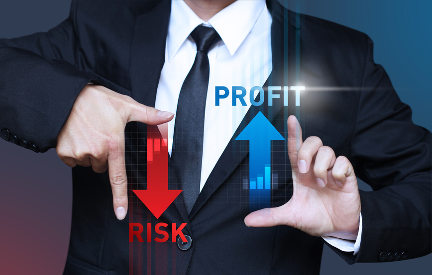 business man show increase profit and decrease risk of investment, management concept